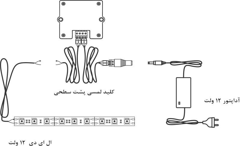 دیاگرام نحوه اتصال کلید به لامپ و آداپتور